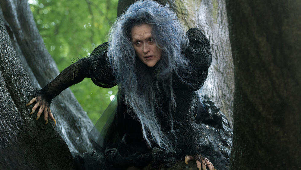 """Meryl Streep plays the Witch in """"Into the Woods."""" The PG-rated Disney film replaced """"Mamma Mia"""" as the biggest opening for a screen adaptation of a Broadway musical ever. It came in a close third at the box office over the weekend."""