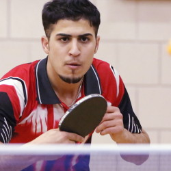 Fouad Abdullah, 20, is a big attraction at a Kennebec program because of his considerable table-tennis skills. Abdullah, who emigrated from a war-torn Iraq, arrived in Maine four months ago and won both the singles and doubles state table tennis championship in November.