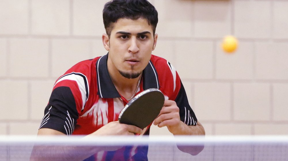 Fouad Abdullah, shown in 2014, quickly became known for his considerable table-tennis skills when he emigrated to Maine from Iraq.