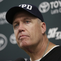 New York Jets head coach Rex Ryan listens to a questions during a news conference Sunday following an NFL football game against the Miami Dolphins, in Miami Gardens, Fla.