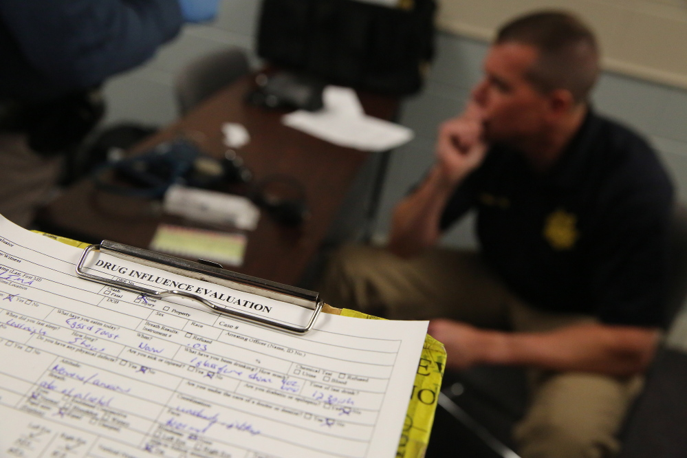 A completed roadside drug influence evaluation sheet is seen during a March 6 drug recognition expert class at the Colorado State Patrol Training Academy in Golden. In states where marijuana is legal – for recreational use, medical use or both – police officers need more training on how to recognize motorists who are too high to drive safely.