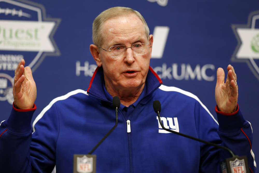 New York Giants coach Tom Coughlin stepped down Monday after a 6-10 season.