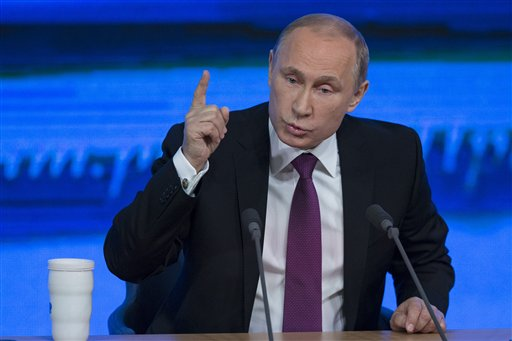 The Russian economy will rebound and the ruble will stabilize, Russian President Vladimir Putin said Thursday at his annual press conference. He also said Ukraine must remain one political entity. The Associated Press