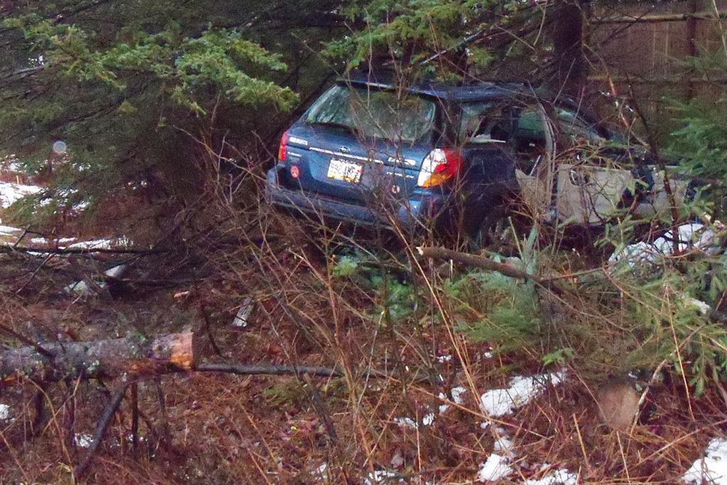 Christopher Doran of Portland was injured Thursday when his car crashed into trees on exit 28 of I-295. Maine Department of Public Safety photo