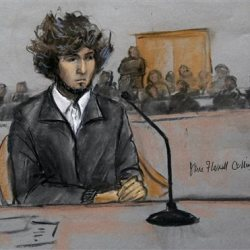 A courtroom sketch of Dzhokhar Tsarnaev, who  appeared for a final hearing before his trial begins in January. Tsarnaev is charged with the April 2013 attack that killed three people and injured more than 260. He could