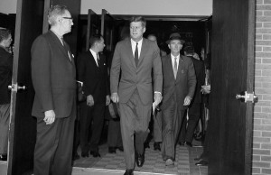 Oct. 28, 1962: President John F. Kennedy leaves St. Stephen's Roman Catholic Church in Washington, D.C., after attending services shortly after the announcement from Moscow that Premier Khrushchev had ordered Soviet rocket bases in Cuba dismantled and rockets returned to Russia. A U.S. blockade forced the removal of Soviet nuclear missiles from Cuba after a standoff brought the world near nuclear war. Kennedy agreed privately not to invade Cuba.