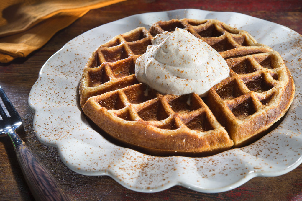 This recipe for Eggnog Waffles with Cinnamon Whipped Cream only requires one tablespoon of bourbon, which means you can add a kick to your waffles without draining the whole bottle.