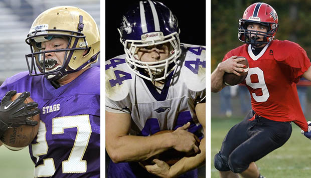 Joe Fitzpatrick of Cheverus, left, Brett Gerry of Marshwood, center, and Chris Carney of Wells are the finalists for the James J. Fitzpatrick Trophy, awarded annually to Maine's top high school senior football player.