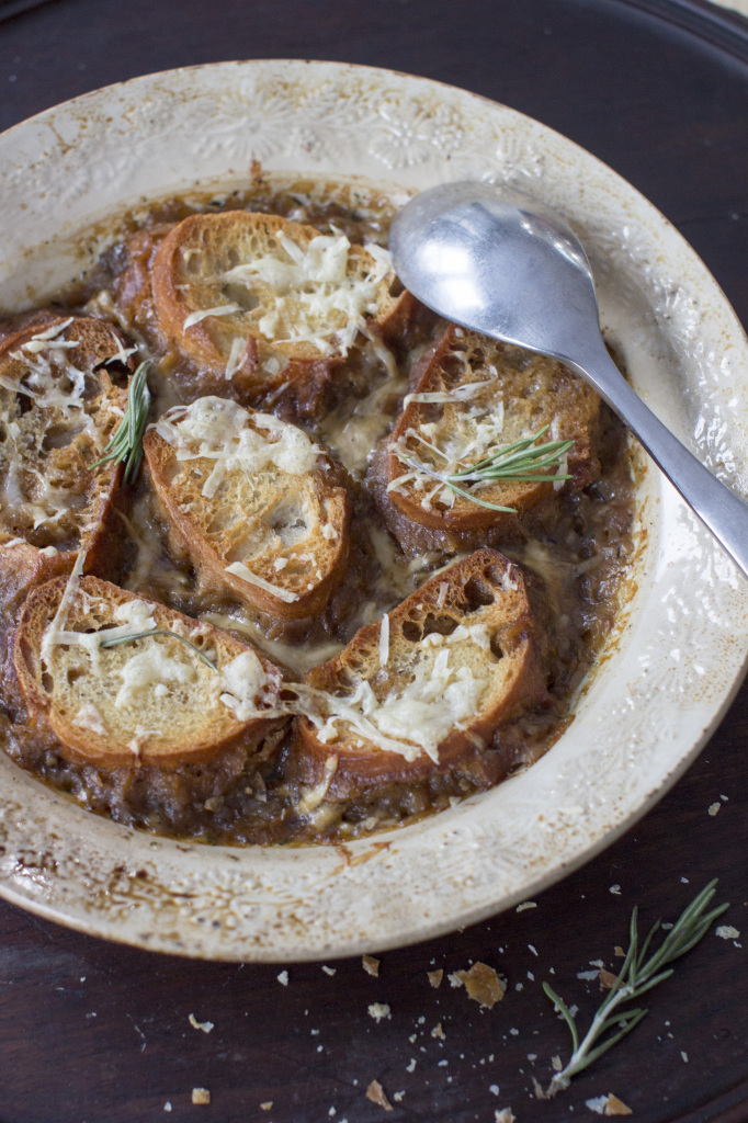 For a healthier version of the classic, Melissa D'Arabian's onion soup recipe keeps the cheese to a minimum.