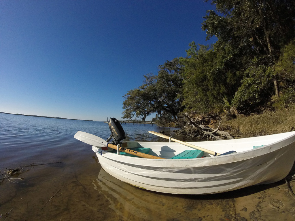 Sally uses this rowboat as her dinghy. The outboard motor does not work.