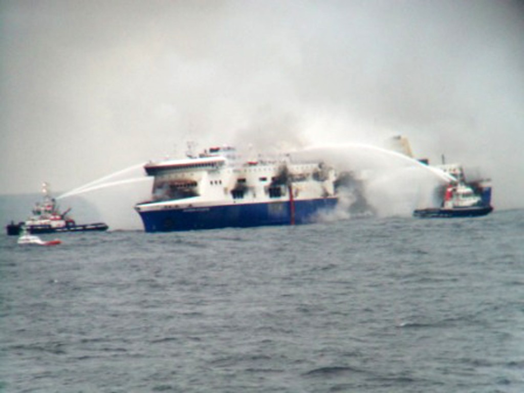 Fire vessels come to the aid of the Norman Atlantic after it caught fire early Sunday in the Adriatic Sea between Italy and Albania.  The Associated Press/SKAI TV