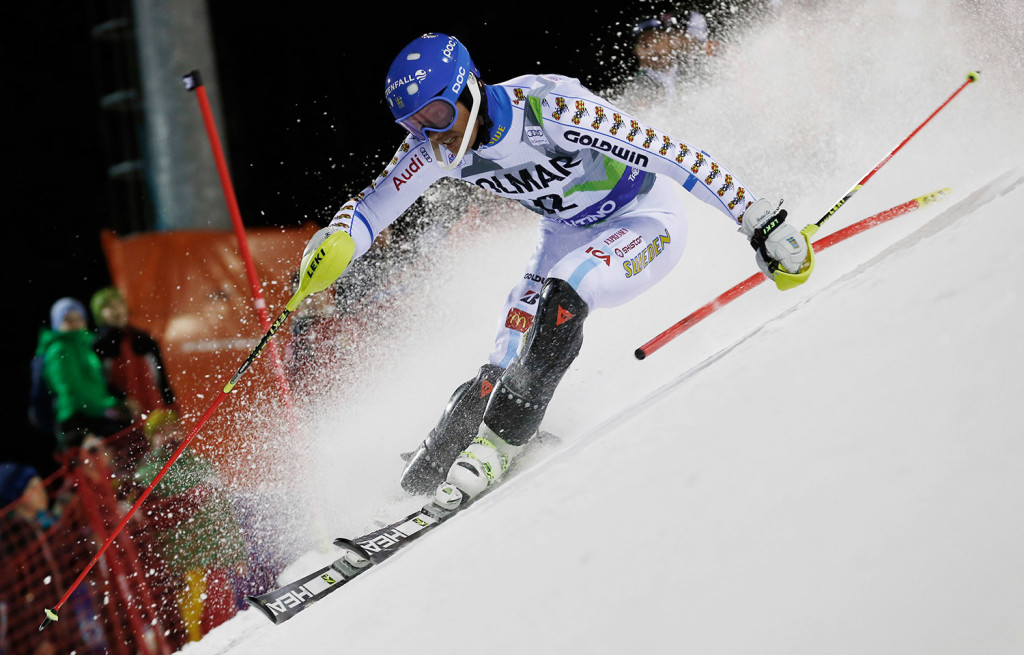 Andre Myhrer of Sweden competes during the first run of the men's World Cup slalom in Madonna di Campiglio, Italy, on Monday. Few of the skiers embrace a new airbag system that will be available for them.