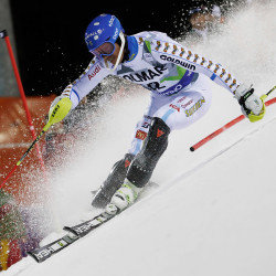 Andre Myhrer of Sweden competes during the first run of the men's World Cup slalom in Madonna di Campiglio, Italy, on Monday. Germans Felix Neureuther and Fritz Dopfer stood 1-2 following the opening run of a night slalom Monday, while three-time defending overall World Cup champion Marcel Hirscher was only 11th. Few of the skiers embrace a new airbag system that will be available for them.