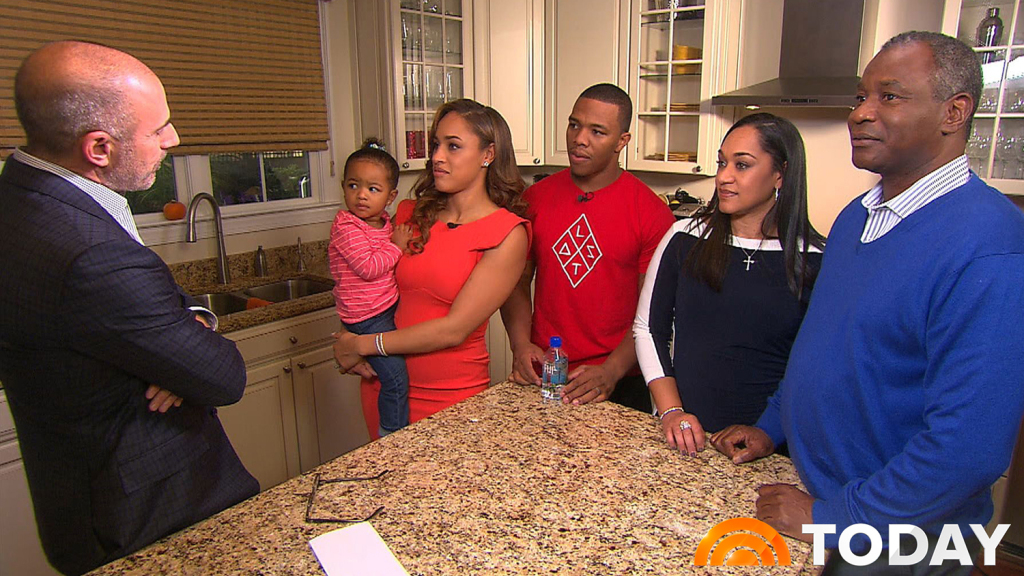 In this image from video provided by The Today Show, host Matt Lauer, left, interviews Janay Rice, holding daughter Rayven, and Ray Rice. Joining them are Janay's parents, Candy and Joe Palmer, right.