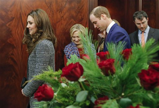 Kate and Prince William, walk next to Hillary Rodham Clinton while attending a reception co-hosted by the Royal Foundation and the Clinton Foundation at the British Consul General's residence Monday in New York. The Associated Press