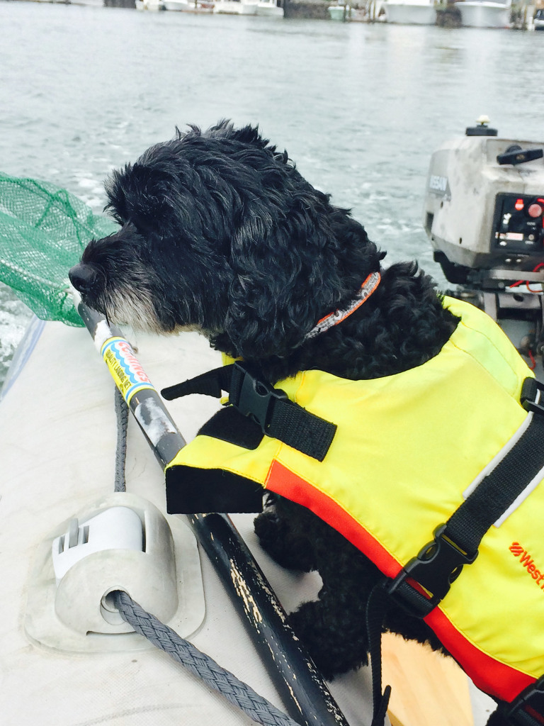 Elli on a fishing trip with another boater.