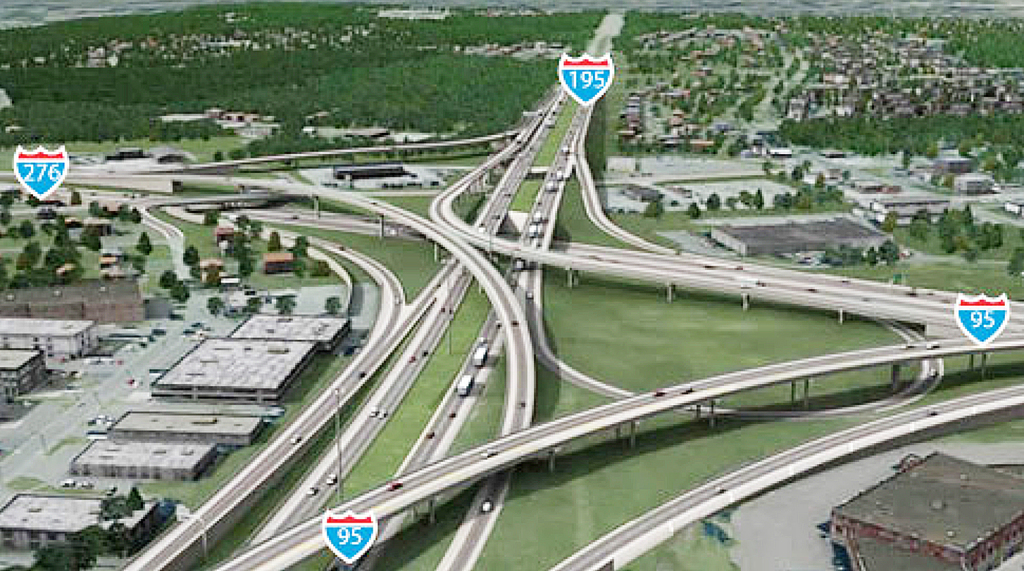 This is a computer-generated aerial view of the proposed interchange that would connect Interstate 95 with the Pennsylvania Turnpike.