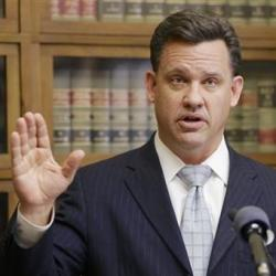 Nebraska Attorney General Jon Bruning speaks at a news conference in Lincoln, Neb., on Thursday, announcing that he and Oklahoma Attorney General Scott Pruitt are filing a lawsuit in the U.S. Supreme Court seeking a declaration that Colorado's legalization of marijuana violates the U.S. Constitution. The Associated Press