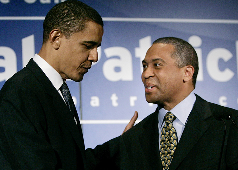 Then-Democratic gubernatorial candidate Deval Patrick shakes hands with then-Sen. Barack Obama, D-Ill., during a news conference prior to a campaign rally in Boston in this June 1, 2006, photo. The Associated Press