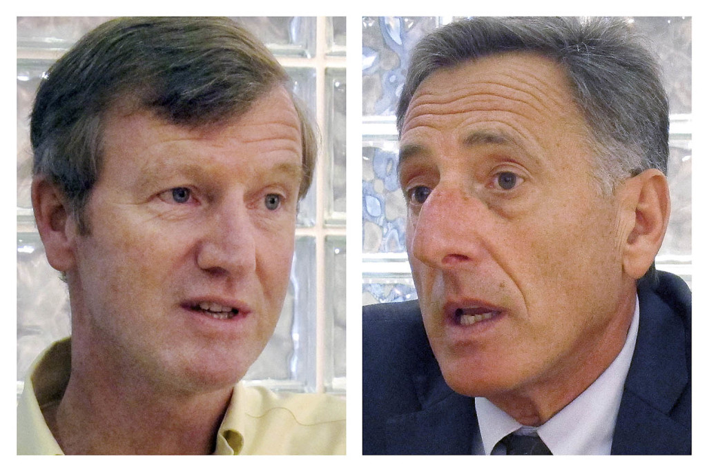 Neither Republican Scott Milne, left, nor Democratic Gov. Peter Shumlin, right, won the majority of the popular vote in November so, under Vermont's constitution, the state Legislature chose the winner. Lawmakers voted 110-69 Thursday to elect Shumlin.