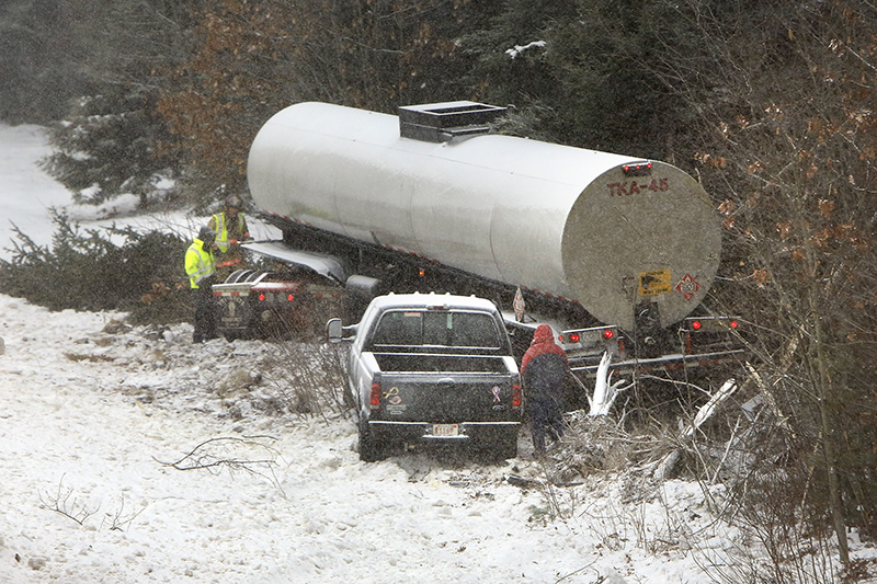 JAN. 9: A tractor-trailer and a pickup truck were involved in an accident – one of many – on the Maine Turnpike in Arundel when a snow squall made conditions slippery during the morning commute. The snow also caused 20 accidents on a single stretch of I-295 between Falmouth and Brunswick.