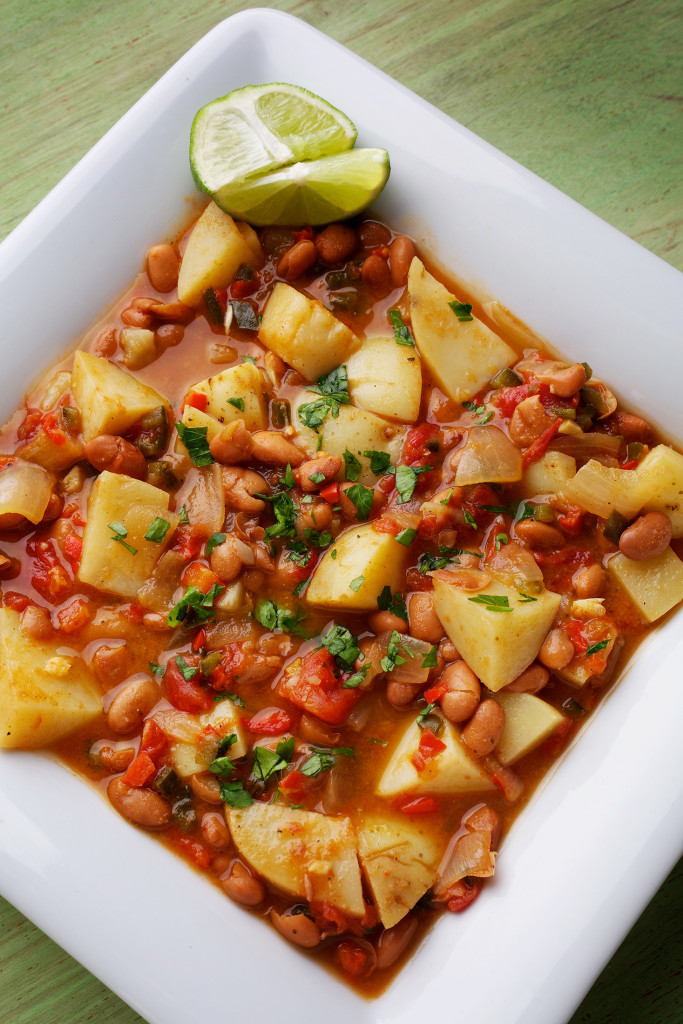 Potato-Bean Stew makes good use of prepared-in-advance dried beans.