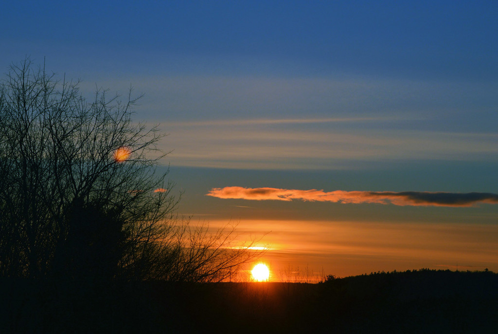 Sundown, you'd better take care, all you folks in New Gloucester bracing for another cold night. But at least that sun also rises – and a little earlier each day. By Brian K. Lovering of North Yarmouth.
