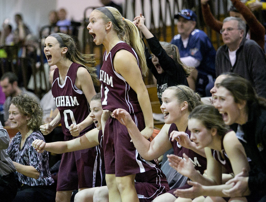 The Gorham bench erupts as they make a late comeback during a girls basketball game at Thornton Academy, Monday in Saco. Gabe Souza / Staff Photographer