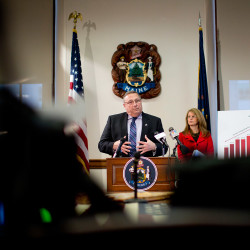 Gov. Paul LePage unveiled a budget proposal Friday that is similar in concept to a tax reform proposal that the Legislature passed in 2009 but voters overturned in 2010.