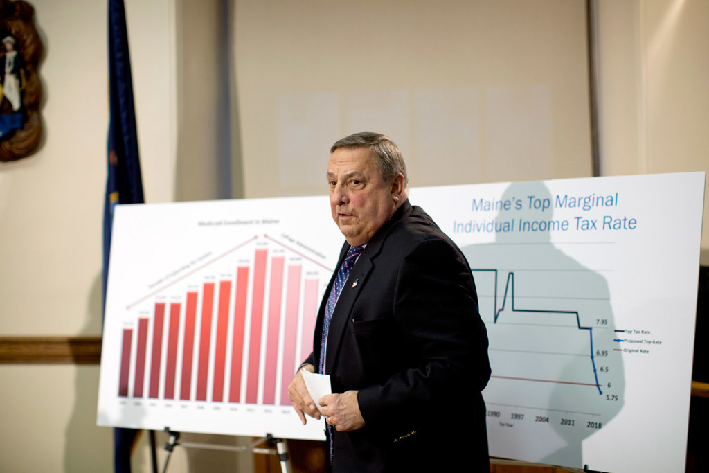 Gov. Paul LePage describes his plan to cut income taxes and eliminate the estate tax while increasing and expanding the sales tax, during a news conference Jan. 9.