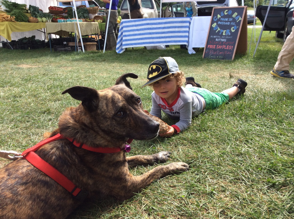 The author's son, Theo, 3 , with a pal at Crystal Spring Farm market in Brunswick.