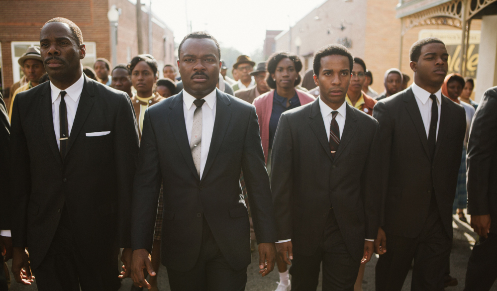 "From left, Colman Domingo as Ralph Abernathy, David Oyelowo as Dr. Martin Luther King Jr., André Holland as Andrew Young, and Stephan James as John Lewis appear in a scene from the film, ""Selma,"" from Paramount Pictures, Pathé, and Harpo Films. The film is drawing controversy for its portrayal of the relationship between President Lyndon Johnson and King."