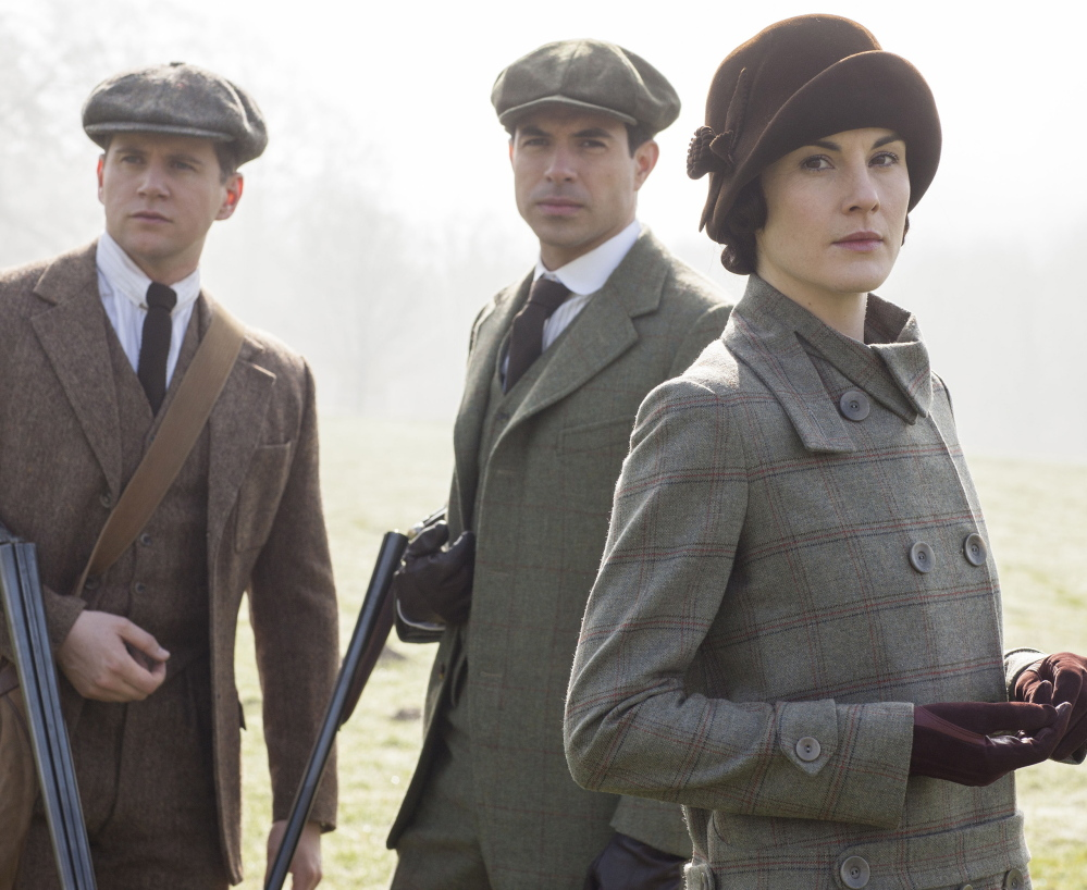 From left, Allen Leech as Tom Branson, Tom Cullen as Lord Gillingham and Michelle Dockery as Lady Mary.