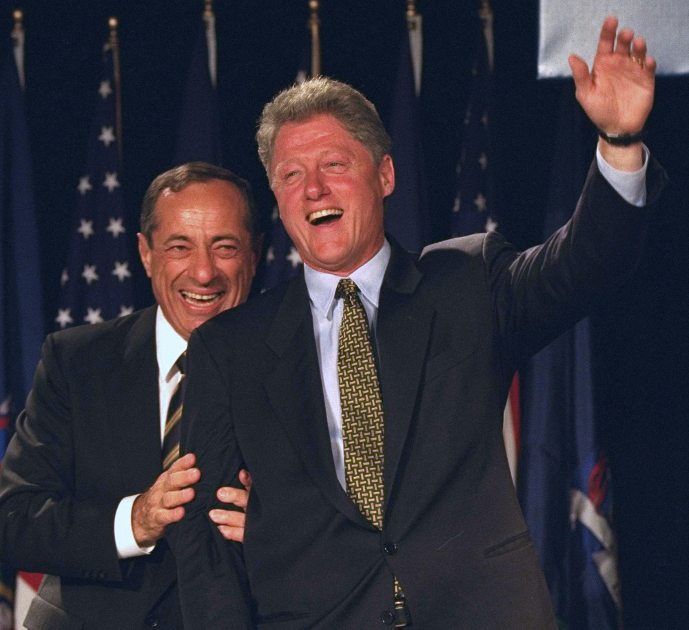 President Bill Clinton, appearing with New York Gov. Mario Cuomo at a New York hotel on Oct. 19, 1994, won the presidency in 1992 after Cuomo decided not to run, then steered the Democratic Party toward the center.