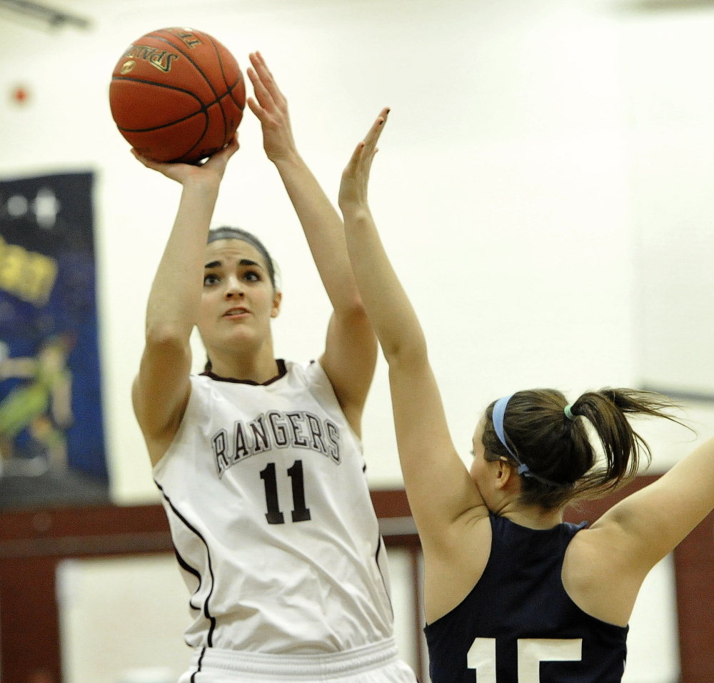 Ashley Story scored 14 points for Greely, which was run by assistant coach Diana Manduca, the former Deering High and Colby College standout who took charge in the absence of Coach Joel Rogers, who was ill.