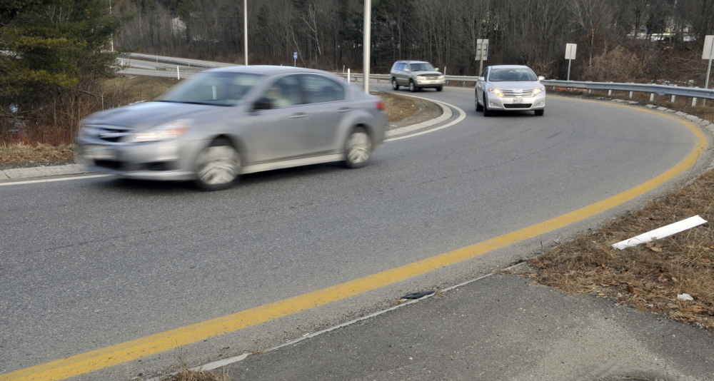 Maine Department of Transportation officials plan to make the Interstate 95 Exit 109B offramp, which now comes into Western Avenue on a curve, connect with the avenue at a 90-degree angle, in hopes of reducing accidents.