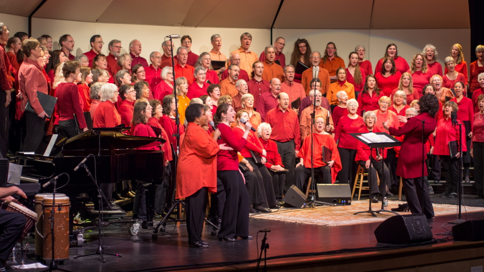 The Midcoast Community Chorus rehearses for their  winter concert,