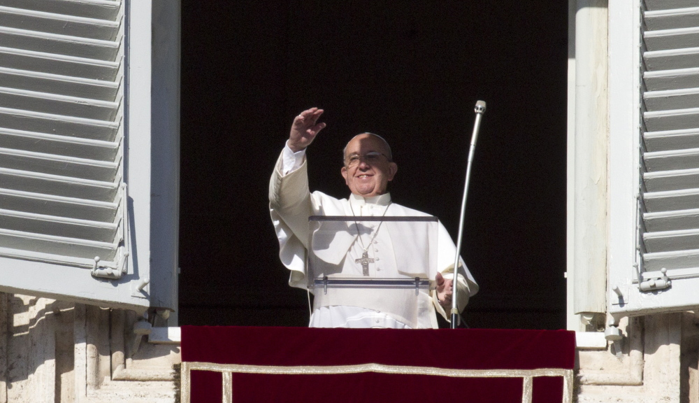 Pope Francis arrives for noon prayer Sunday, when he named 15 new cardinals, some from far-flung corners of the world.