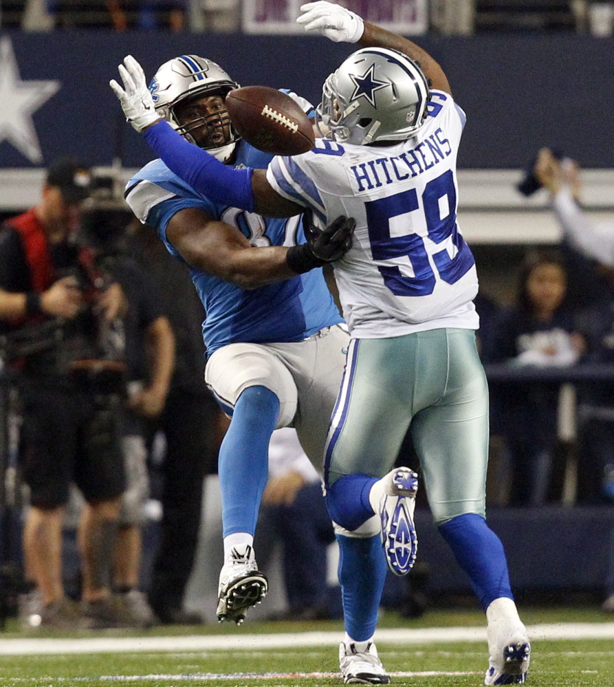 First it was a pass interference penalty on Cowboys linebacker Anthony Hitchens, then it was an incomplete pass intended for Lions tight end Brandon Pettigrew. It was a major controversial call in Dallas' playoff win Sunday in Texas.