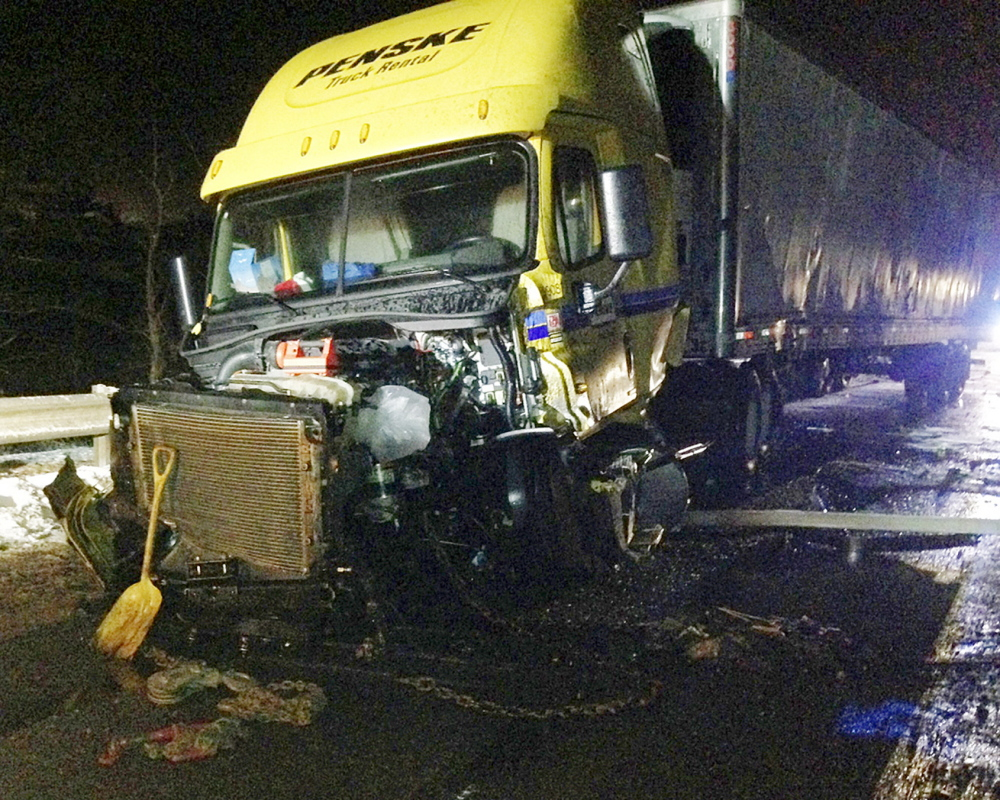 The cab of this tractor-trailer was heavily damaged Sunday night in an accident on I-95 on the Bond Brook overpass.