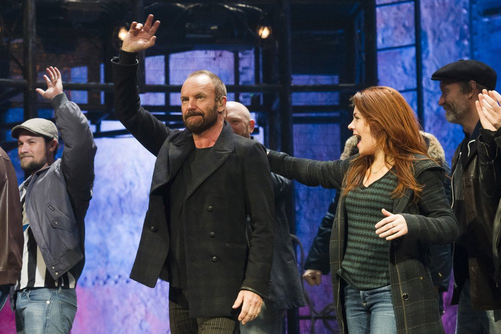 "In this Tuesday, Dec. 9, 2014, file photo, Sting appears at the curtain call following his debut performance in Broadway's ""The Last Ship,"" in New York."