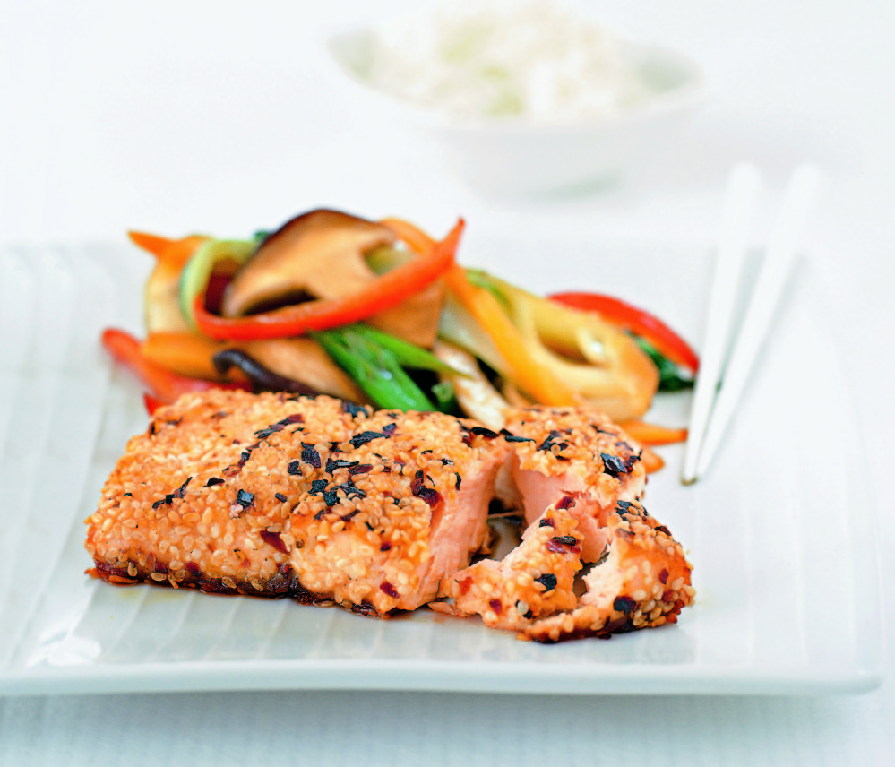 "Sesame-crusted salmon from ""The Fasting Cookbook"""