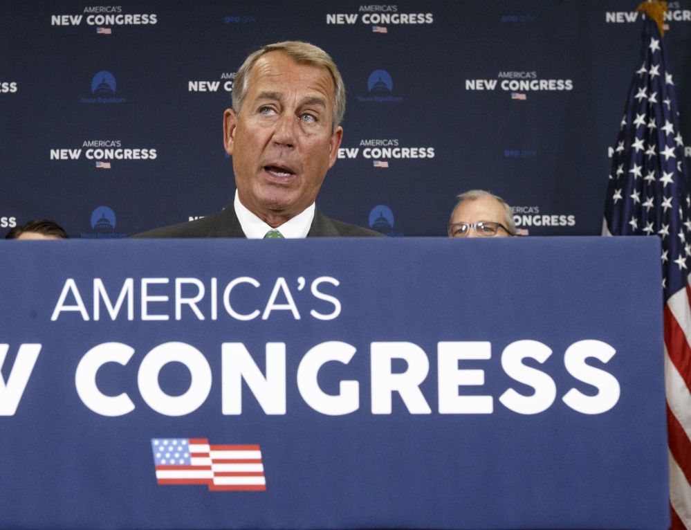 House Speaker John Boehner speaks Wednesday in Washington. Some Republicans urged him not to crack down on foes and instead focus on substantive issues.