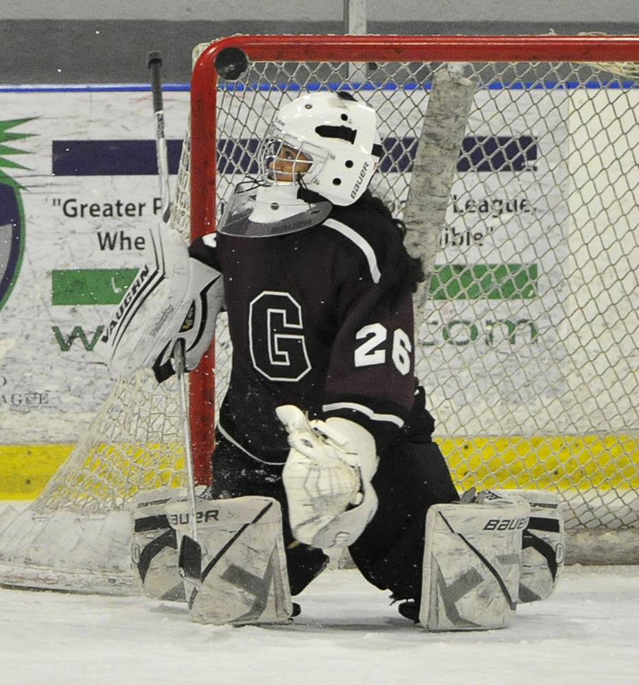 Greely goalie Nica Todd makes one of her 19 saves Wednesday in a 6-2 girls' hockey win over Cape Elizabeth/Waynflete/South Portland at William B. Troubh Ice Arena in Portland.