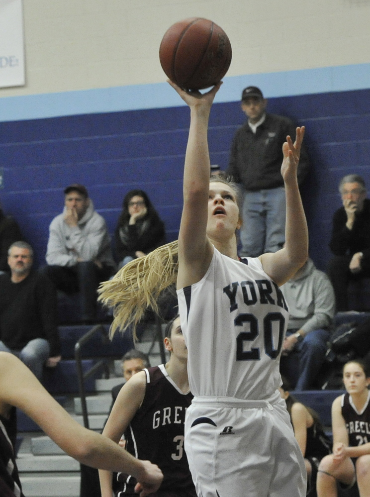 York's Chloe Smedley takes a shot during the Wildcats' 48-43 win at home over Greely on Thursday night. Smedley had five points for York, which improved to 7-2.