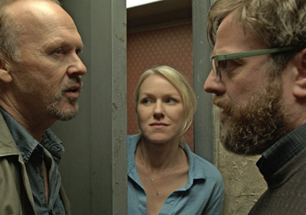 "Michael Keaton, left, Naomi Watts and Zach Galifianakis in ""Birdland."""