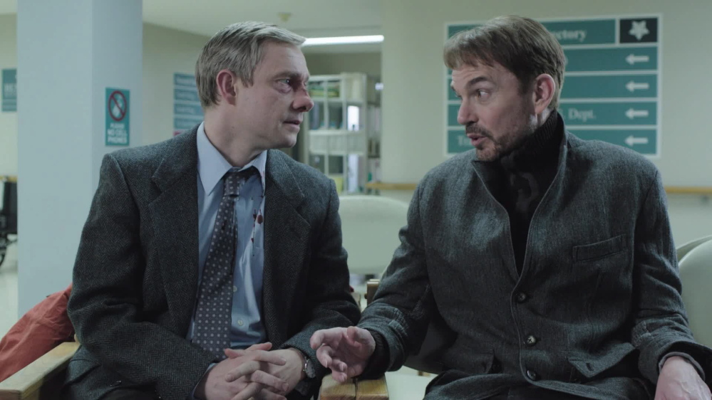 "Martin Freeman, left, and Billy Bob Thornton in ""Fargo,"" which leads the television side with five nominations."