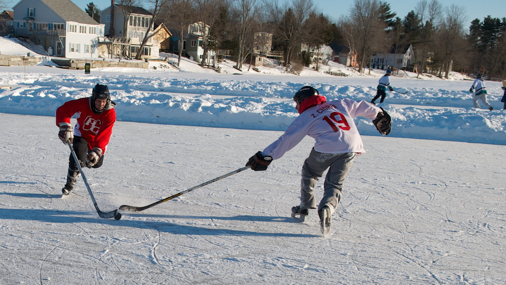 With no Zamboni to clear the ice, the puck can take funny bounces, but that's part of the allure of the Maine Pond Hockey Classic, which will bring about 40 teams to Sidney.