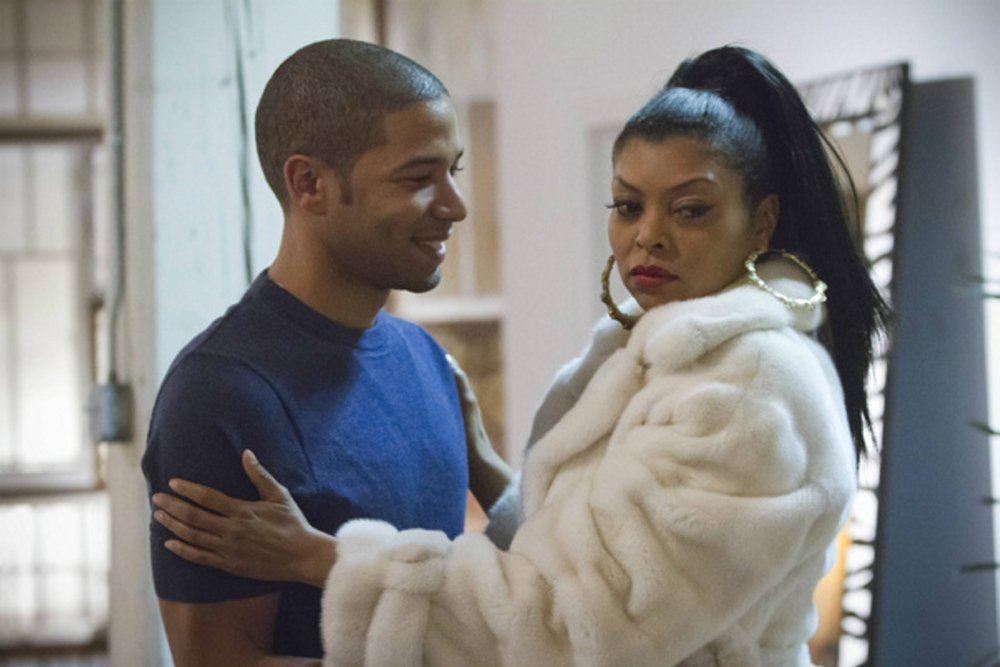 "Actor Jussie Smollett, left, plays the son of Taraji Henson on the television show ""Empire."""
