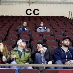 Only a few fans dot one of the mostly empty sections at a Portland Pirates game at the Cross Insurance Arena in Portland on Jan. 2. Attendance figures at the arena show the team is struggling in its first season under a new lease agreement with Cumberland County.